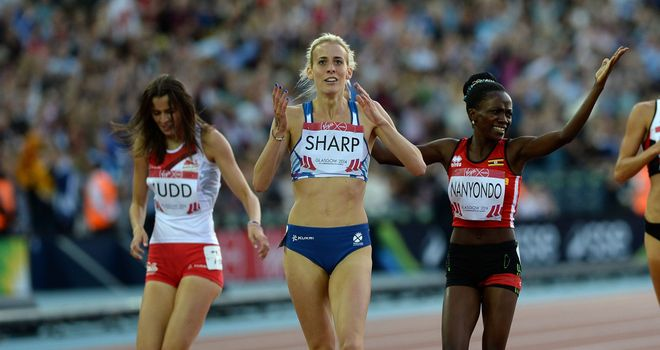 Differing emotions for Jessica Judd (left) and Lynsey Sharp (centre) after the 800m final in Glasgow