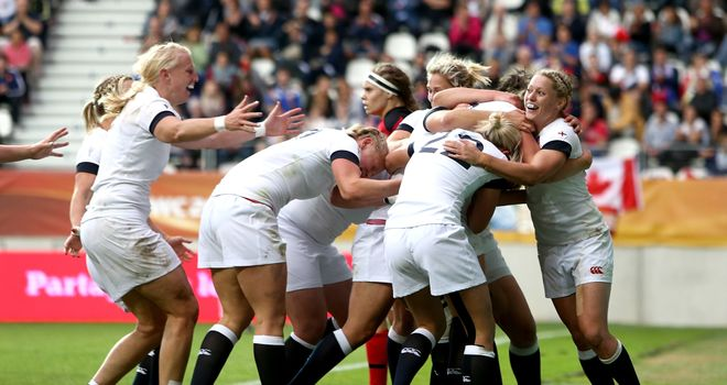 England celebrate Emily Scarratt's try in the World Cup final