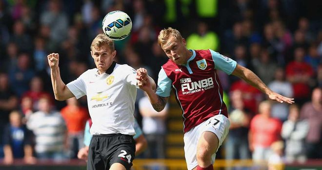 Darren Fletcher: Manchester United midfielder challenges Burnley's Scott Arfield