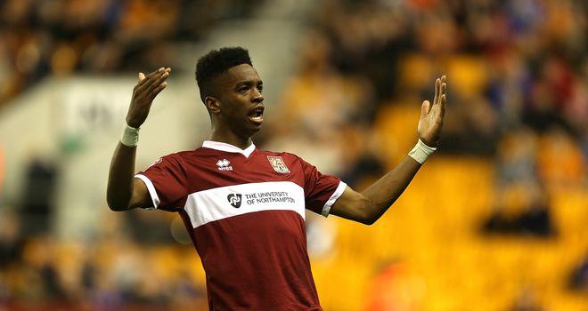 Ivan Toney of Northampton Town celebrates after scoring v Wolves