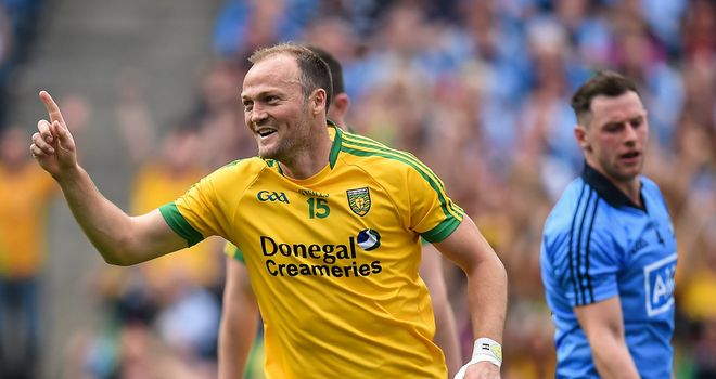 Colm McFadden celebrates after scoring Donegal's third goal against Dublin