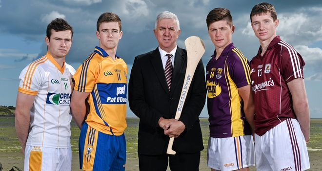 Ger Cunningham, centre, pictured at the launch of the Bord Gáis Energy All-Ireland U-21 hurling semi-finals