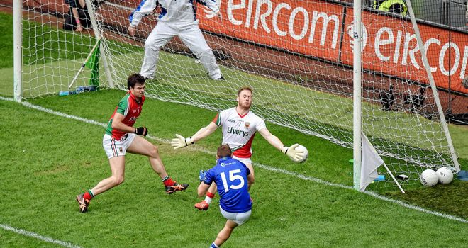 Kerry forward James O'Donoghue scores his late goal against Mayo