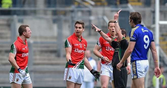 Lee Keegan is shown a red card by referee David Coldrick during Mayo's All-Ireland semi-final draw against Kerry