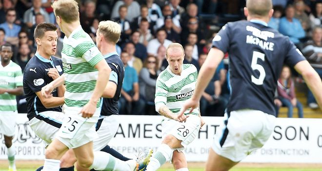 Leigh Griffiths scores Celtic's equaliser against Dundee in the 1-1 draw at Dens Park
