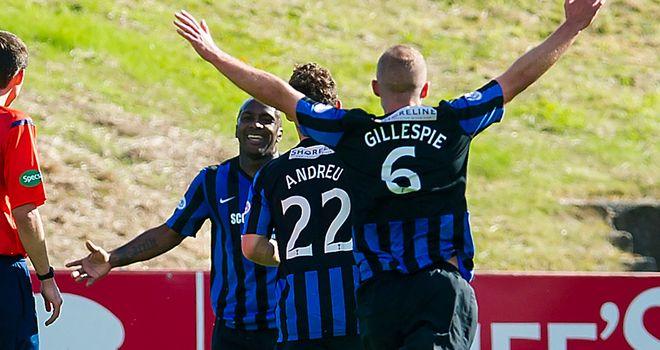 Jason Scotland celebrates his last-gasp winning goal