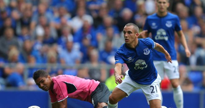 Leon Osman: In action during testimonial against Porto.