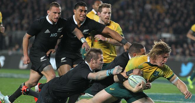 Michael Hooper scores a consolation try for Australia against New Zealand