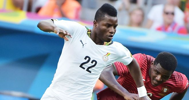 Wakaso Mubarak: Celtic target (l) in action for Ghana against Portugal