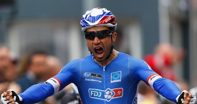 Bouhanni celebrates his victory in Belgium
