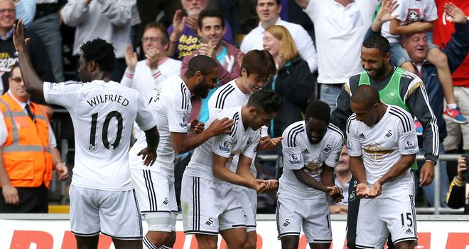 Nathan Dyer: Celebrates after giving Swansea the lead against Burnley