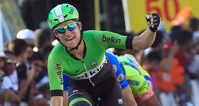 Theo Bos celebrates his victory in Poland