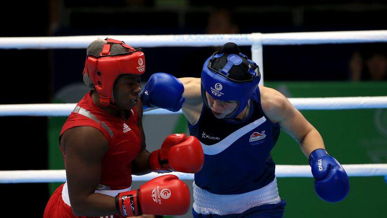 England's Savannah Marshall (blue) in action against Nigeria's Edith Ogoke