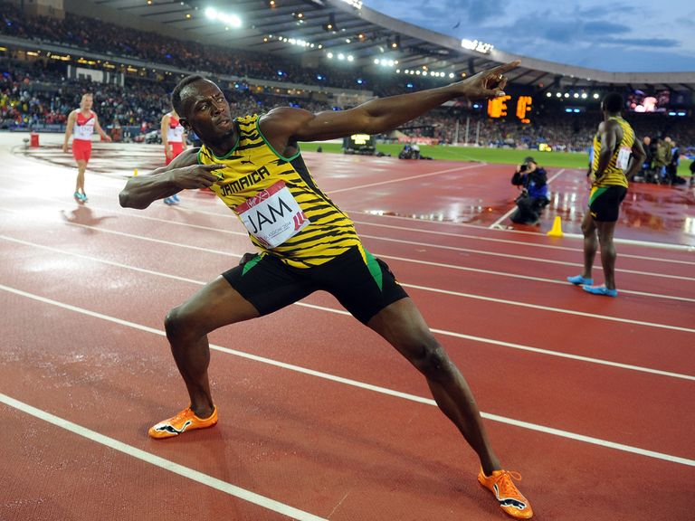 Jamaica's Usain Bolt celebrates