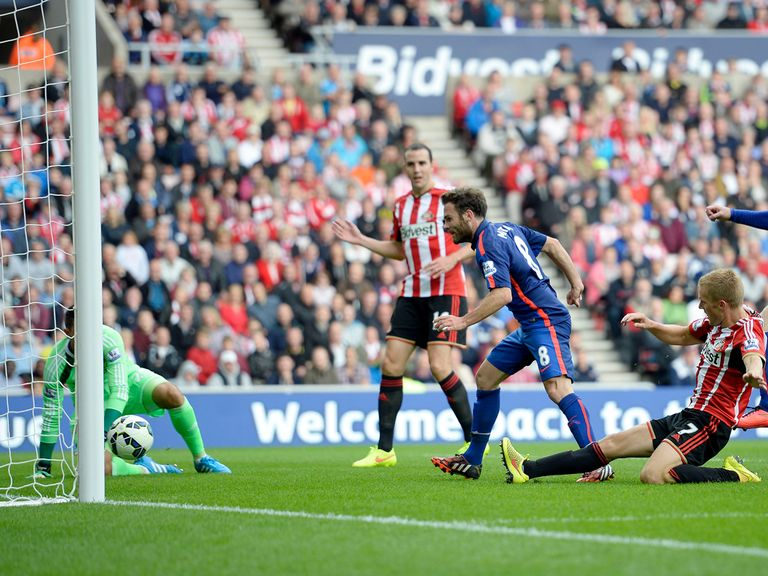 Juan Mata put Manchester United ahead at Sunderland