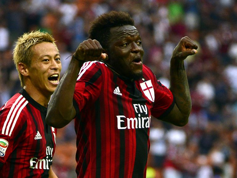 AC Milan's Sulley Ali Muntari celebrates
