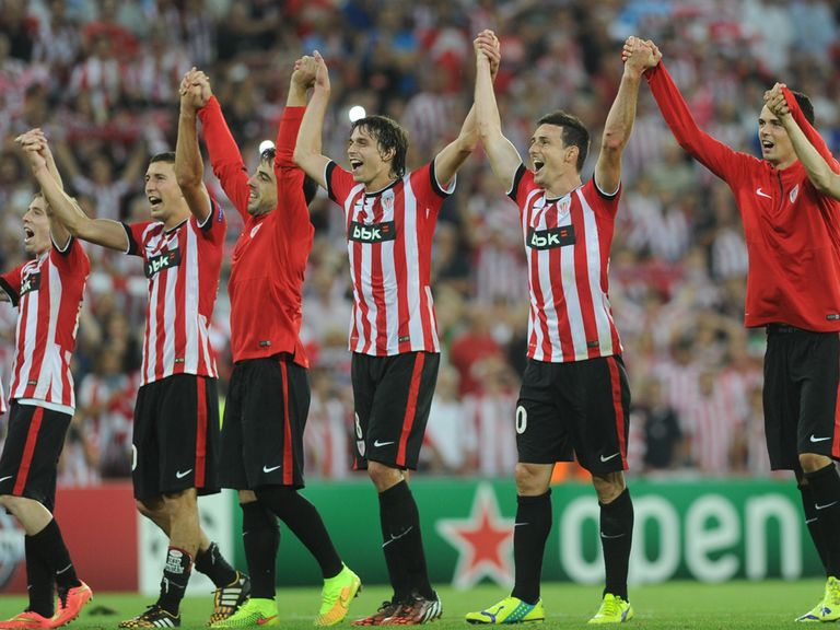 Athletic Bilbao celebrate after winning their Champions League play-off