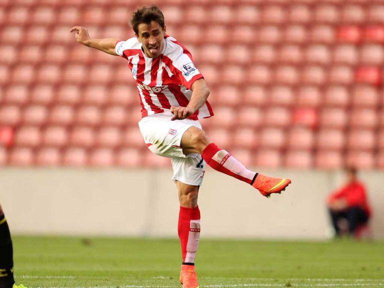 Bojan scores Stoke's second goal against Real Betis