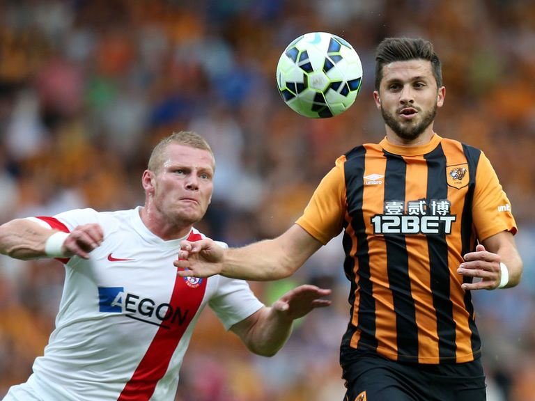 Hull's Shane Long in Europa League action