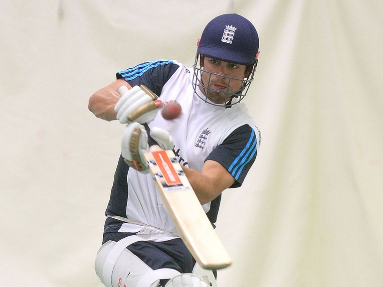 England's Alastair Cook plays a shot in the indoor nets