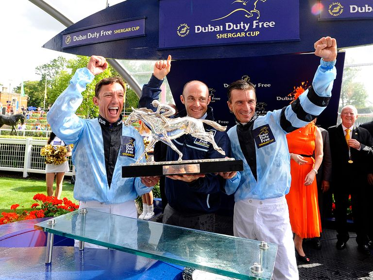 Frankie Dettori of Italy, Olivier Peslier of France and Adrie De Vries of the Netherlands win The Shergar Cup for team Europe