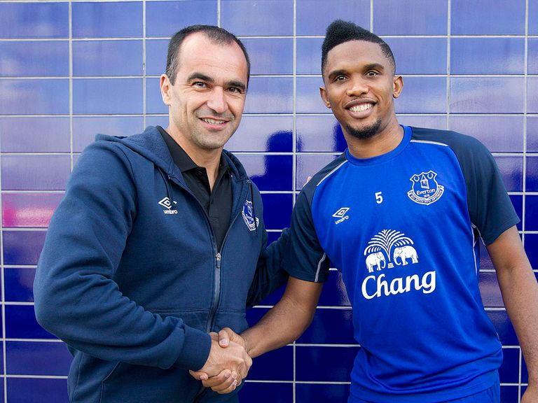Everton's new signing Samuel Eto'o with manager Roberto Martinez