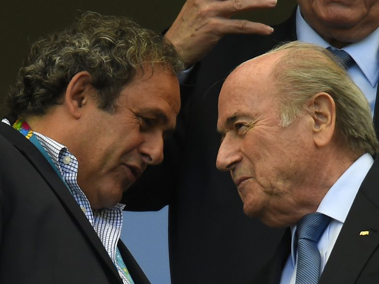Platini (l) and Blatter will not go head to head in a FIFA election