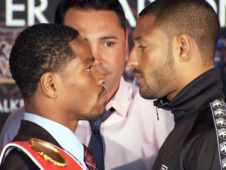 Title hopeful: Champion Shawn Porter (l) and challenger Kell Brook