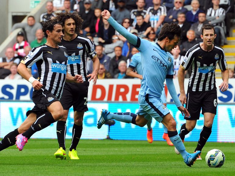 David Silva scores Manchester City's opening goal