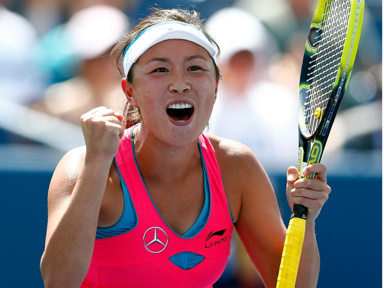 Shuai Peng celebrates a famous victory at Flushing Meadows.