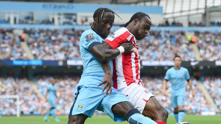 Bacary Sagna: Manchester City defender in action against Stoke's Victor Moses