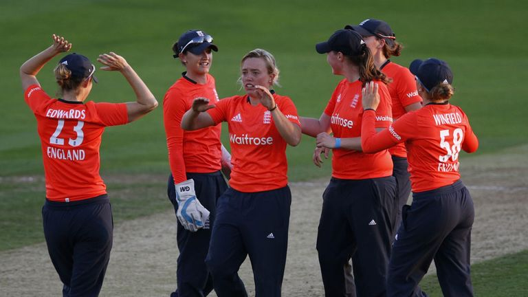 Danielle Hazell of England celebrates taking the wicket of Dane van Niekerk