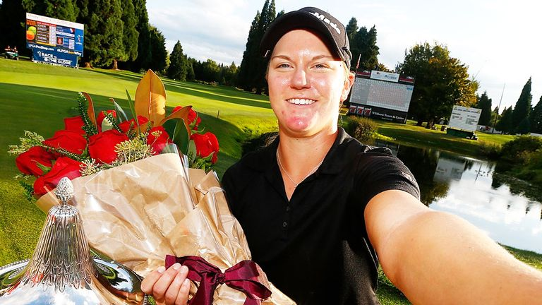 Austin Ernst celebrates her victory in the LPGA Portland Classic