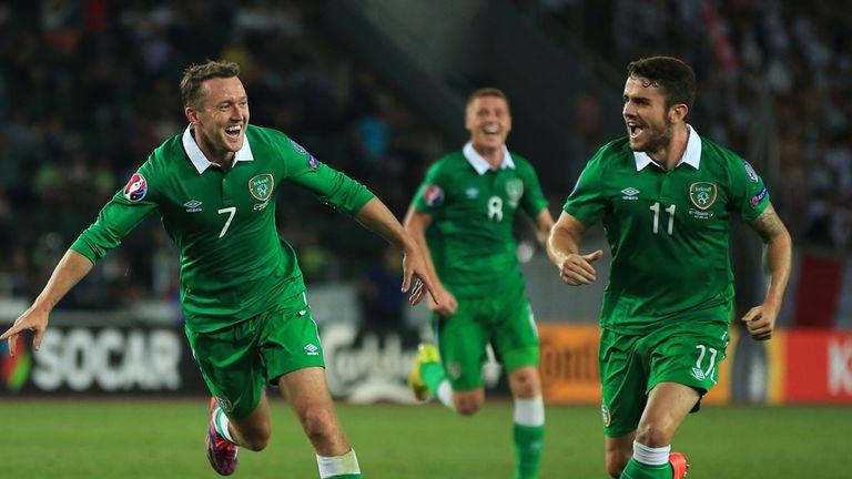 Aiden McGeady celebrates his winning goal against Georgia