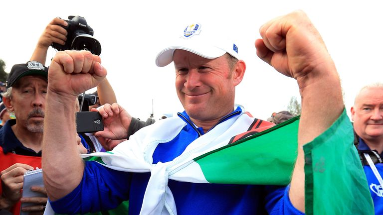 Europe's Jamie Donaldson celebrates after winning the Ryder Cup