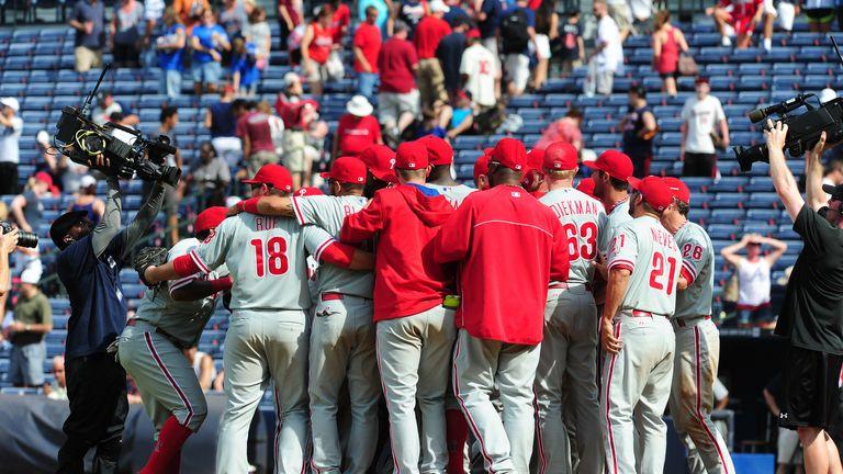 The Philadelphia Phillies celebrate their four-pitcher no-hitter against the Atlanta Braves