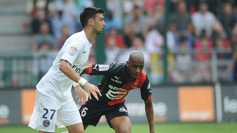 Javier Pastore vies with Gelson Fernandes
