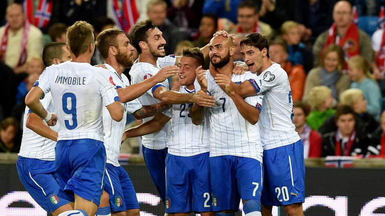 Simone Zaza: Italy forward celebrates after finding the net against Norway