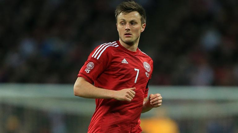 William Kvist wearing a Denmark shirt during a friendly against England at Wembley earlier this year