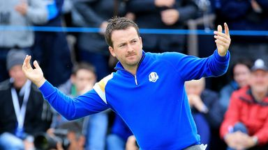 Graeme McDowell: Celebrates victory against Jordan Spieth during the Ryder Cup