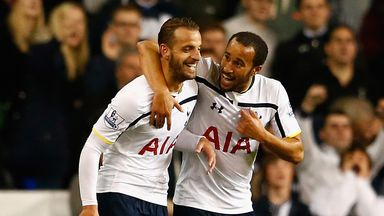 Roberto Soldado (l) and Andros Townsend: Celebrate a Tottenham goal