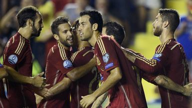 Spain: Celebrating their 5-1 win