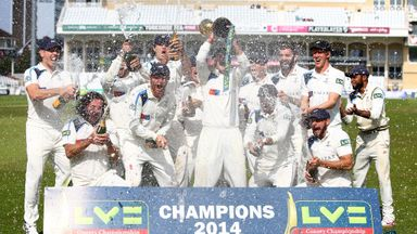 Yorkshire celebrate with the County Championship trophy