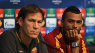 Ashley Cole and Roma coach Rudi Garcia face the press