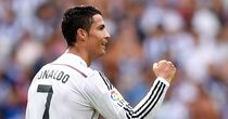Cristiano Ronaldo: Celebrates one of his hat-trick goals