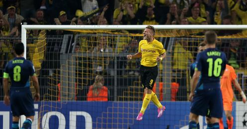 Ciro Immobile: Celebrates after scoring against Arsenal
