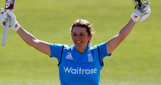 Charlotte Edwards celebrates her century against India in the second ODI
