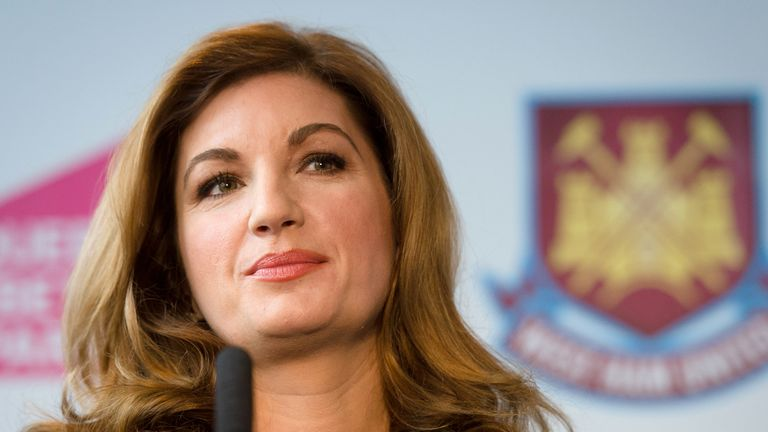 West Ham United Vice Chairman Karren Brady listens to a question during a press conference in east London to