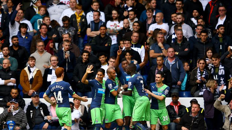 Ameobi: Mobbed by team-mates after equaliser