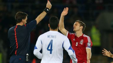 Red card for Andy King who must now sit out the next two Euro qualifiers for Wales